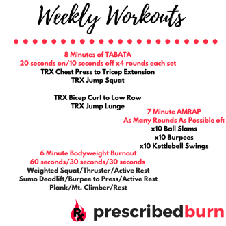 Weekly Workouts + Gym Inspiration – prescribed burn